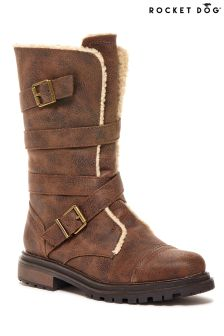 Rocket Dog Lance Buckle Faux Fur Lined Calf Boots