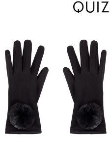 Quiz Faux Fur Pom Gloves