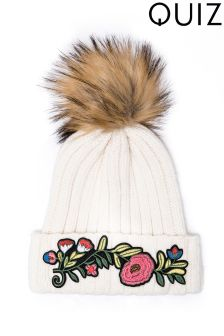Quiz Embroidered Pom Hat