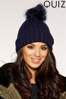 Quiz Faux Fur Pom Hat