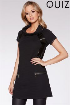Quiz PU Trim Roll Neck Tunic Dress