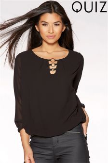 Quiz Black Circle Trim Bubble Hem Top