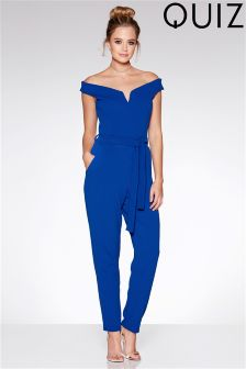 Quiz Blue Bardot Tie Belt Jumpsuit
