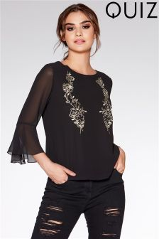 Quiz Embroidered Frill Sleeve Top