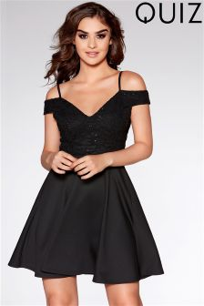 Quiz Cold Shoulder Skater Dress