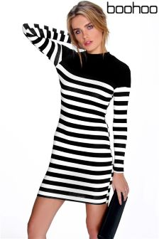 Boohoo Contrast Stripe High Neck Bodycon Dress