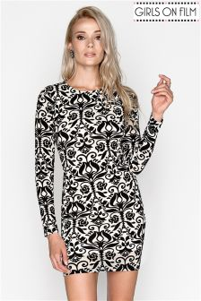 Girls On Film Flock Print Bodycon Dress