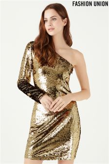 Fashion Union Sequin One Shoulder Dress