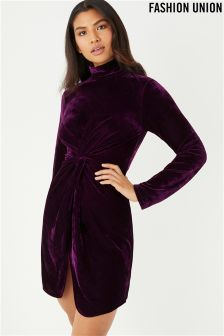 Fashion Union Velvet Knot Detail Dress