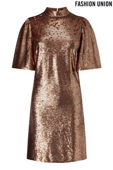 Fashion Union High Neck Sequin Shift Dress