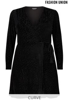 Fashion Union Curve Velvet Leopard Burnout Wrap Dress
