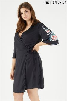 Fashion Union Curve Floral Print Kimono Style Dress