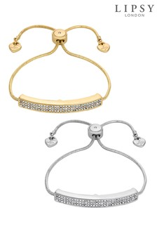 Lipsy Crystal Pave Bar Toggle Bracelet Set