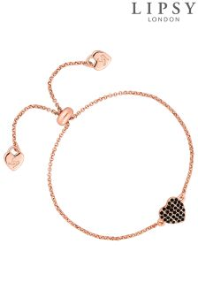 Lipsy Crystal Pave Heart Toggle Bracelet