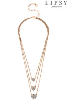 Lipsy Multi Heart Drop Necklace