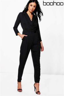 Boohoo Satin Tailored Jumpsuit