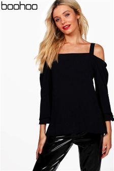 Boohoo Long Sleeve Cold Shoulder Blouse
