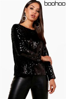 Boohoo Sequin Open Back Blouse