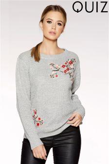 Quiz Floral Embroidered Knit Jumper