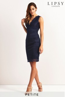 Lipsy Petite V neck All Over Lace Bodycon Dress
