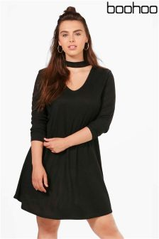 Boohoo Plus Choker Swing Dress