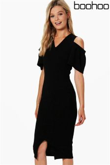 Boohoo Cold Shoulder Frill Detail Midi Dress