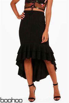 Boohoo  Ruffle Hem Crepe Midi Skirt
