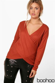 Boohoo Plus Wrap Front Ribbed Jumper
