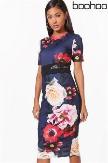 Boohoo Floral Print Lace Insert Midi Dress