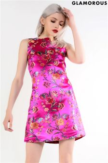 Glamorous Oriental Style Brocade Shift Dress