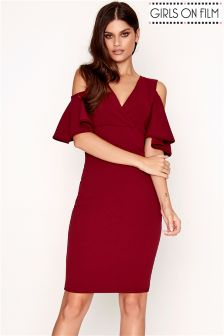 Girls On Film Cold Shoulder Bodycon Midi Dress