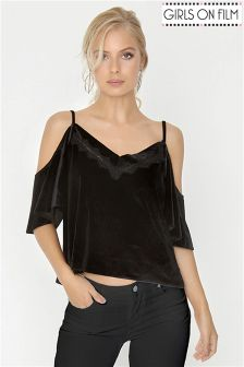 Girls On Film Velvet Lace Trim Cami Top