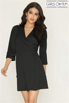 Girls On Film 3/4 Length Sleeve Wrap Dress