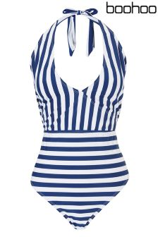Boohoo Plus Kerry Wrap Over Stripe Swimsuit