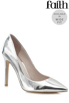 Faith Chloe Wide Ombre Glitter Court Shoes