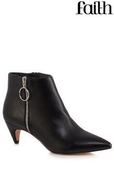Faith Bolly Zip Detail Peg Heel Boots