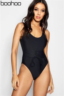 Boohoo Eyelet Waist Enhance Swimsuit