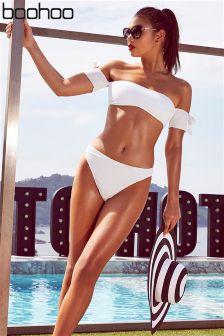 Boohoo Tie Detail Bardot Bikini Set