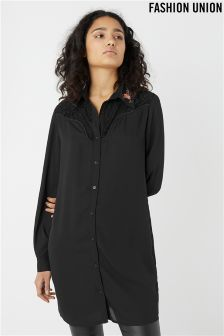 Fashion Union Embroidered Long Sleeve Shirt Dress