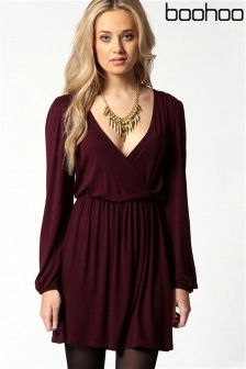 Boohoo Jersey Long Sleeve Wrap Dress