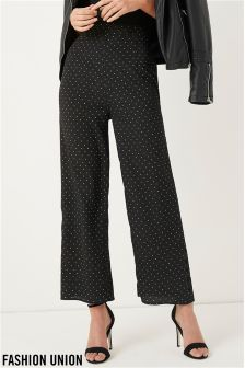 Fashion Union Spot Wide Leg Trousers