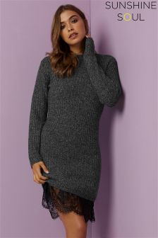 Sunshine Soul Chunky Knit Lace Hem Jumper Dress