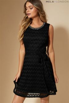 Mela London Embellished Neck Skater Dress