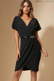 Mela London Front Wrap Shimmer Dress