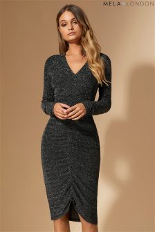 Mela London Front Ruched Glitz Bodycon Dress