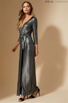 Mela London Shimmer Wrap Front Maxi Dress