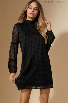 Mela London Velvet Polka Dot Swing Dress