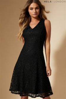 Mela London Swirl Lace Skater Dress