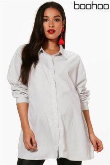 Boohoo Maternity Ellie Oversized Stripe Woven Shirt