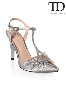 True Decadence Diamanté Cut-out Court Shoes